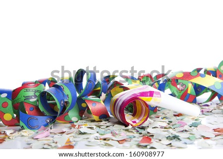 streamers and confetti as decoration - stock photo