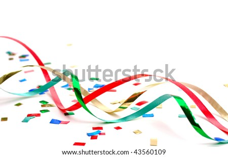 Streamers and confetti 2 on white background - stock photo