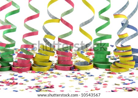 streamers over confetti isolated on white background celebration and holiday concepts - stock photo