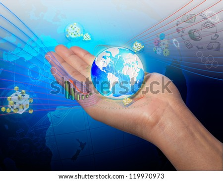 streaming flow of data with modern smart tablet pc - stock photo