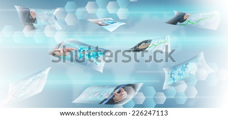 streaming images virtual buttons  - stock photo