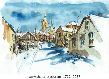 Street and church in winter, watercolor illustrations - stock photo