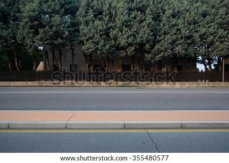 Street and trees flat  minimal background - stock photo