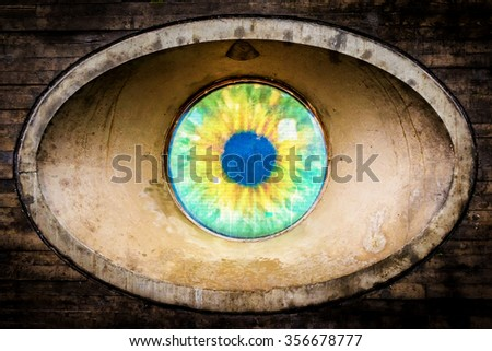 Street art installation showing the all-seeing eye in Malmo in Sweden - stock photo