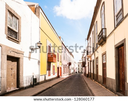 street at the old town in las palmas (grand canary) - stock photo