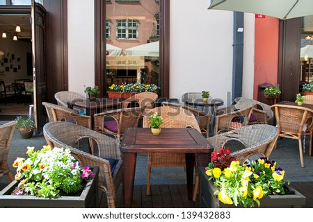 Street cafe at summer - stock photo