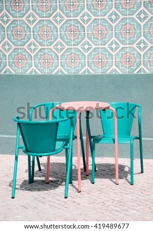 Street cafe in Aveiro (Portugal). Toned photo. - stock photo