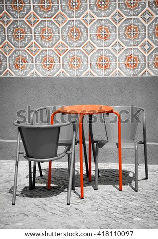 Street cafe in Aveiro (Portugal). Toned photo. Black and red. - stock photo