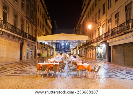 Street cafe in the center of Lisbon, Portugal - stock photo