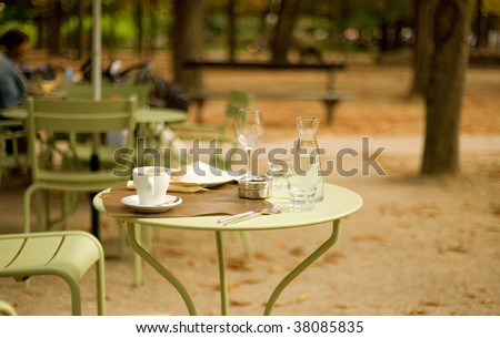 Street cafe in the Luxembourg garden, Paris, France - stock photo