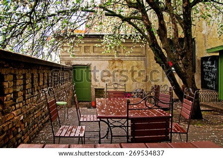 Street cafe of spring - stock photo