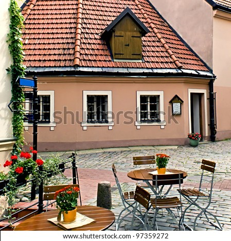 Street coffee shop in old Riga city, Latvia. In 2014, Riga is the European capital of culture - stock photo