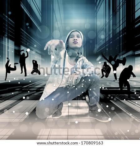 Street Dance,Dramatic Look - stock photo