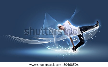 Street dancer in a white shirt on an abstract background. collage - stock photo