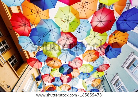 Street decorated with colored umbrellas.Agueda, Portugal - stock photo