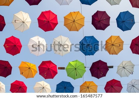 Street decorated with colored umbrellas. in antalya Turkey - stock photo