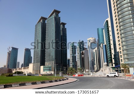 Street downtown in Doha, Qatar, Middle East - stock photo