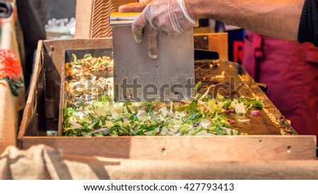 Street Food, Grilling Vegetables And Meat.  - stock photo