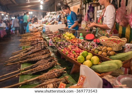 Street food in Luang Prabang, Laos - stock photo