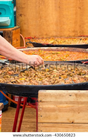 Street Food. Selection Of Curry In Large Karahi Pans. - stock photo
