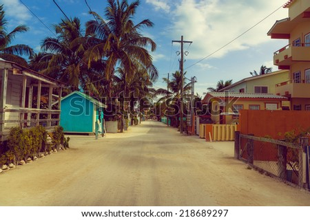 street in caye caulker town island belize central america - stock photo