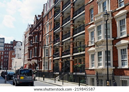 Street in central London, UK. - stock photo