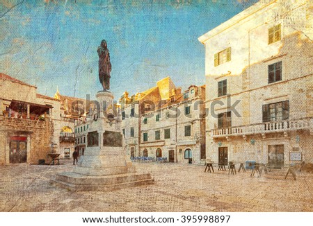 street in Dubrovnik. Croatia. Picture in artistic retro style. - stock photo