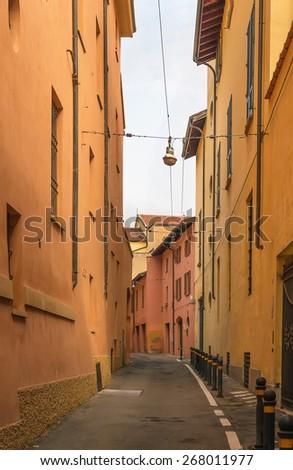 street in historic center of Bologna, Italy - stock photo