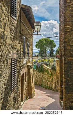 street in historical center of San Gimignano, Italy - stock photo