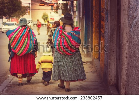 Street in La Paz, Bolivia - stock photo