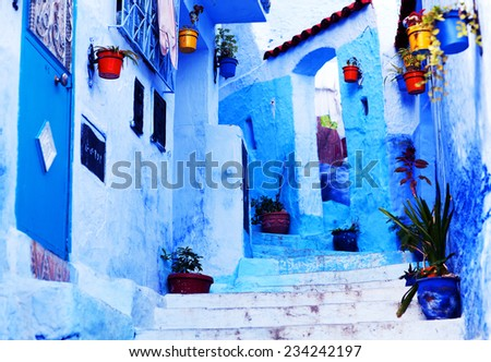 Street in Medina of Chefchaouen, Morocco. Chefchaouen or Chaouen is a city in northwest Morocco. It is the chief town of the province of the same name, and is noted for its buildings in shades of blue - stock photo