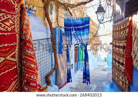 Street in Medina of Chefchaouen, Morocco, small town in northwest Morocco known for its blue buildings - stock photo