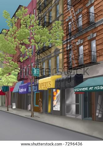 Street in new york city - stock photo