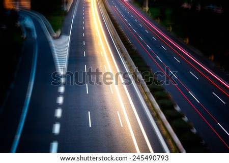 street in night, aerial view in shanghai china. - stock photo
