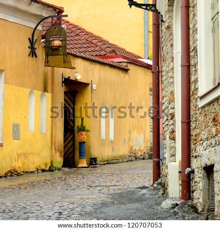 street in old part of Tallinn city - stock photo