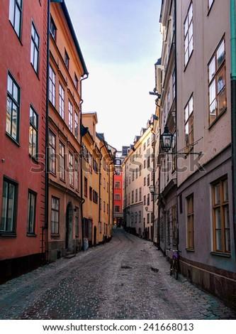 street in Old Town (Gamla Stan) in Stockholm, Sweden - stock photo