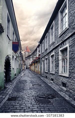 Street in old town in Tallinn, Estonia - stock photo
