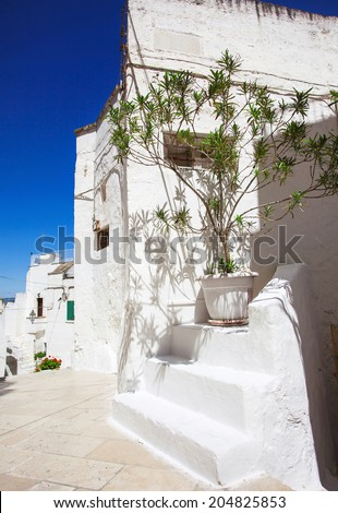 Street in Ostuni, Southern Italy. - stock photo