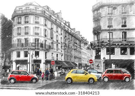 Street in Paris. Digital illustration in draw, sketch style - stock photo