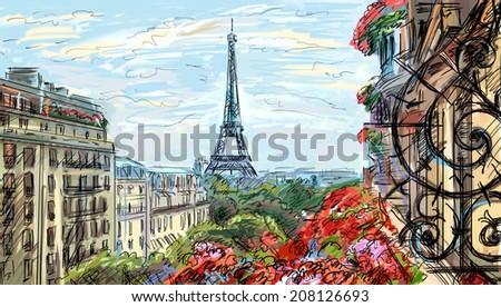 Street in paris. Eiffel tower - illustration  - stock photo