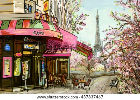 Street in paris - illustration concept - stock photo