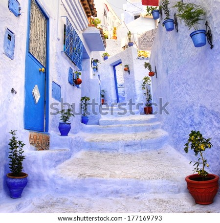 Street in the blue city of Chefchaouen, Morocco - stock photo