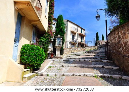Street in the old city center, Cannes, France - stock photo