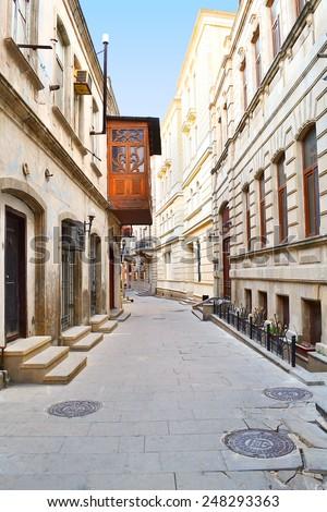 Street in the Old town - Baku, Azerbaijan - stock photo