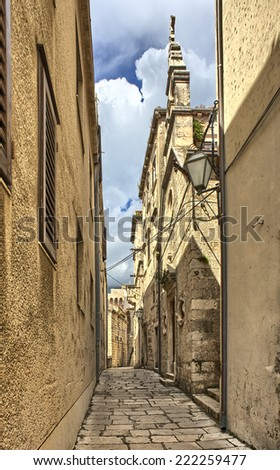 Street in the old town Dubrovnik, Croatia. South Dalmatia - stock photo