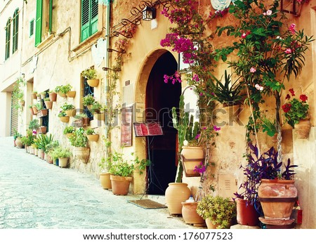 Street in Valldemossa village in Mallorca, Spain - stock photo