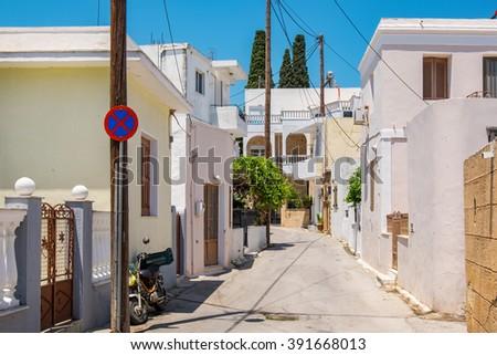 Street in village of Lardos. Rhodes, Dodecanese Islands, Greece - stock photo