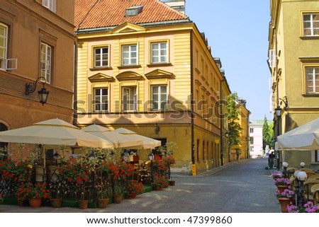 Street in Warsaw's Old Town - stock photo