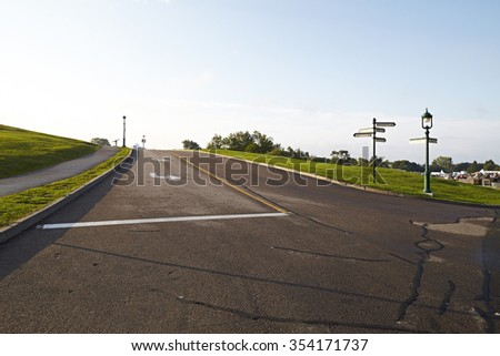 street into the quebec city park  - stock photo