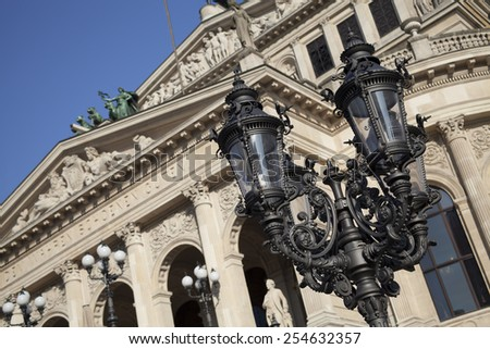 street lamp at Opera House, Frankfurt city - stock photo
